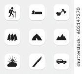 set of 9 editable travel icons. ... | Shutterstock .eps vector #602147270