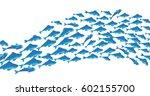 Stock vector school of fish vector illustration for header web print card and invitation plenty of herring 602155700