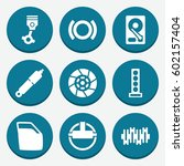 set of 9 part filled icons such ... | Shutterstock .eps vector #602157404