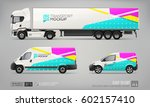 set of truck trailer  delivery... | Shutterstock .eps vector #602157410