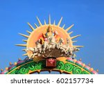 statue of hindu sun god surya | Shutterstock . vector #602157734