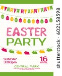 easter party invitation vector... | Shutterstock .eps vector #602158598