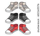 sneakers drawing set. black ... | Shutterstock .eps vector #602165576