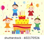 birthday cake for children and... | Shutterstock .eps vector #602170526