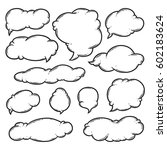 set of doodle cloud vector... | Shutterstock .eps vector #602183624