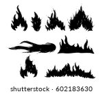 set of hand drawn fire and... | Shutterstock .eps vector #602183630