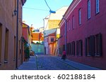 Small photo of The alleys of Vilnius in Lithuania. Alleys and streets in the city.