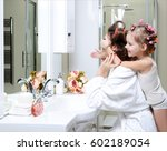 young mother and daughter in... | Shutterstock . vector #602189054