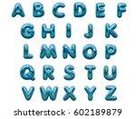 shiny blue foil balloon... | Shutterstock . vector #602189879