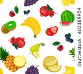 pattern  set of fruits isolated ... | Shutterstock .eps vector #602189954
