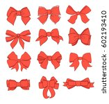 bows set. red color with... | Shutterstock .eps vector #602193410