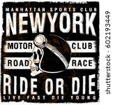 motorcycle poster skull tee... | Shutterstock .eps vector #602193449