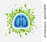 lungs and leaves illustration ... | Shutterstock .eps vector #602193890
