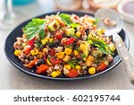 mexican rice  quinoa avocado... | Shutterstock . vector #602195744