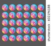 alphabet letters colorful button | Shutterstock .eps vector #602196188