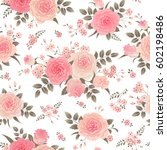Stock vector bouquets of roses seamless floral background vintage pattern for wallpaper fabric digital paper 602198486