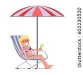 chaise lounge on the beach. | Shutterstock .eps vector #602230520