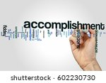 Small photo of Accomplishment word cloud concept on grey background.