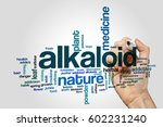 Small photo of Alkaloid word cloud concept on grey background.
