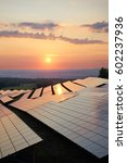 sunset over solar power plant... | Shutterstock . vector #602237936