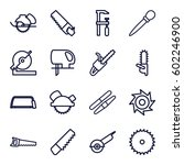saw icons set. set of 16 saw...
