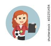 female sport teacher looking at ... | Shutterstock .eps vector #602251454
