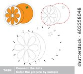 orange and half slice. dot to... | Shutterstock .eps vector #602258048
