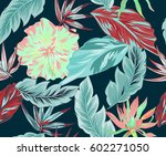 tropical flowers  jungle leaves ... | Shutterstock .eps vector #602271050
