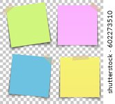 set of paper sheets pin on... | Shutterstock .eps vector #602273510