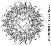 zentangle feather mandala  page ... | Shutterstock .eps vector #602278220