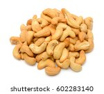 roasted cashew nuts isolated on ... | Shutterstock . vector #602283140