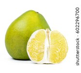 Small photo of close-up view of Thailand pomelo isolated on white background.