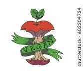 vector image of a vegan emblem... | Shutterstock .eps vector #602304734