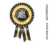gold best price badge rosette... | Shutterstock .eps vector #602308964