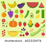 set of fruits and vegetables....   Shutterstock .eps vector #602310476