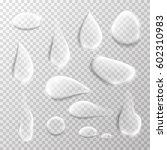 transparent water drop set on... | Shutterstock .eps vector #602310983