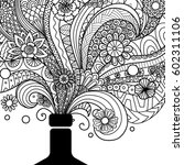 Champagne bottle line art design for coloring book for adult,poster, card and design element - stock vector