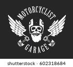 emblem retro motorcyclist old... | Shutterstock . vector #602318684