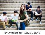 group of happy teen high school ... | Shutterstock . vector #602321648