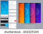 bright design mobile ui kit for ... | Shutterstock .eps vector #602325104