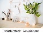feminine hipster office table... | Shutterstock . vector #602330000