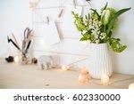 feminine hipster office table... | Shutterstock . vector #602330000