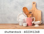 kitchen utensils and tableware... | Shutterstock . vector #602341268