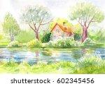 watercolor landscape  house on... | Shutterstock . vector #602345456