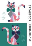cat from geometric figures for... | Shutterstock .eps vector #602359163