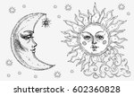 sun and moon with face  cloud... | Shutterstock .eps vector #602360828