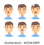 set of male emoji characters.... | Shutterstock .eps vector #602361809
