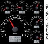 black speedometer scales.... | Shutterstock .eps vector #602362280
