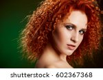 girl with long and shiny wavy... | Shutterstock . vector #602367368