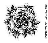 black tattoo rose flower with... | Shutterstock .eps vector #602367500